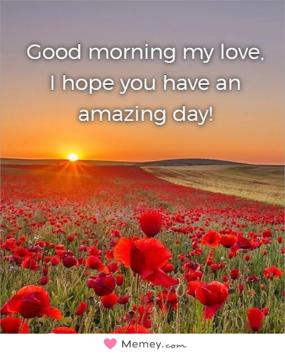 Good morning my love, I hope you have an amazing day!