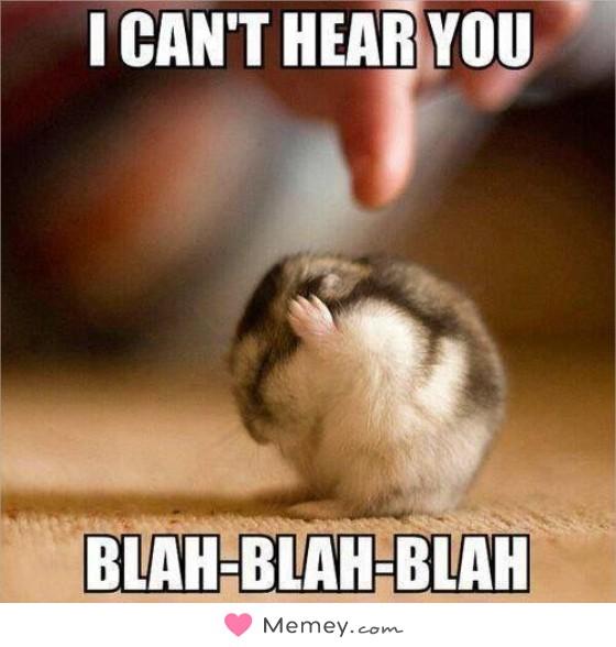 I can't hear you. Blah blah blah.